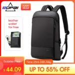 BOPAI Slim laptopa plecak mężczyźni 15.6 cal urząd pracy mężczyźni plecak biznes torba Unisex czarny Ultralight plecak cienkie plecak wyprzedaż na Aliexpress