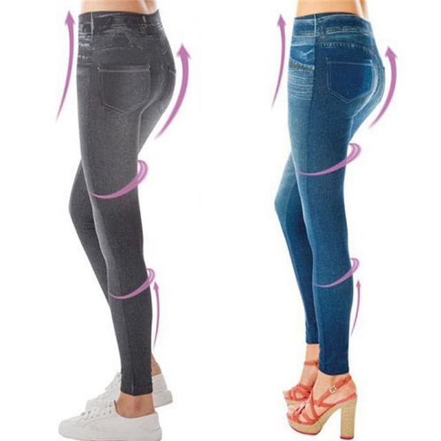 Gorące legginsy dżinsy kobiet Denim spodnie z kieszeniami Slim Jeggings Fitness Plus rozmiar legginsy S-XXL czarny/szary/niebieski