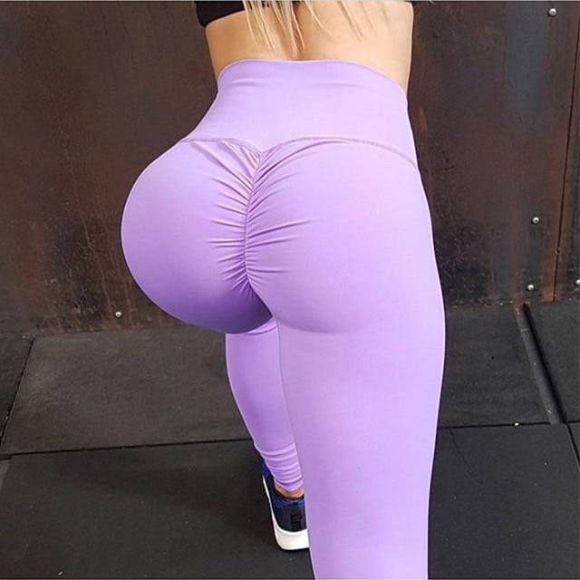 Hot nowość! Dno zmarszczki Push Up legginsy kobiety Fitness Slim Jeggings wysoka elastyczna pochłaniające suche szybkie sportowe spodnie dziewczyna Legging