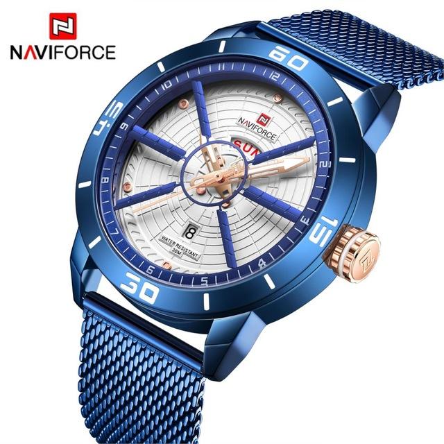 NAVIFORCE męskie zegarki Top marka luksusowy sportowy zegarek siatka stalowa data tydzień wodoodporny zegarek kwarcowy zegarek na rękę dla mężczyzn zegar Relogio Masculino
