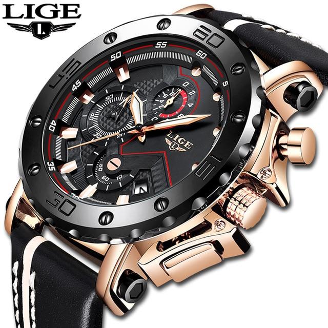 2019 LIGE nowe mody męskie zegarki Top marka luksusowe duże pokrętło wojskowy zegarek kwarcowy skórzane wodoodporne sportowe chronograf mężczyźni