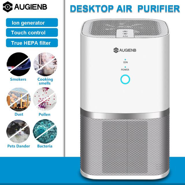AUGIENB oczyszczacz powietrza jonizator prawdziwy filtr Hepa, Eliminator alergii na zapach dla palaczy, kurz, pleśń, formaldehydu dom zwierząt domowych do czyszczenia