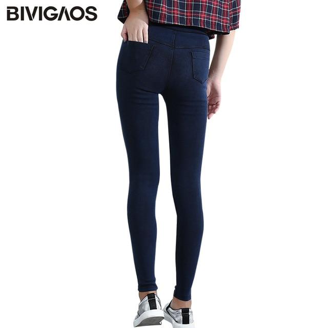 BIVIGAOS kobiety Jeans legginsy dorywczo mody Skinny Slim myte Jeggings cienki wysoki elastyczny Denim Legging ołówek spodnie dla kobiet