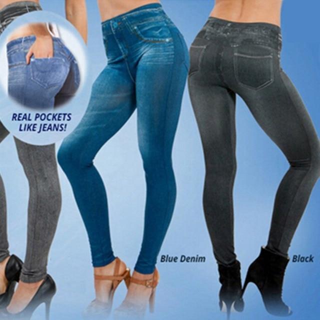 Damskie legginsy dżinsy Denim spodnie z kieszeniami Slim Jeggings fitness legginsy S-XXL czarny/szary/niebieski LM58