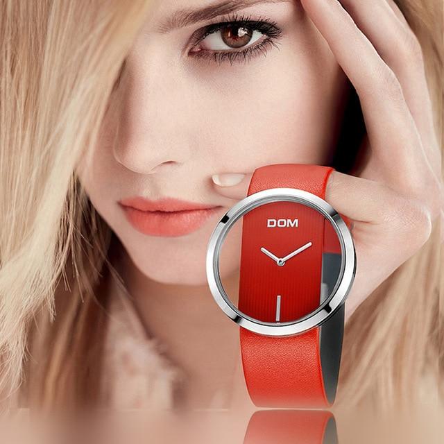 DOM oglądać kobiety luksusowej mody przypadkowi 30 m wodoodporny zegarek kwarcowy zegarki prawdziwy skórzany pasek panie elegancki zegarek na rękę dziewczyna