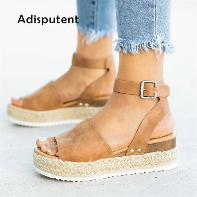 Kliny buty damskie buty na wysokim obcasie sandały letnie buty 2019 Flop Chaussures Femme sandały na platformie 2019 Plus rozmiar