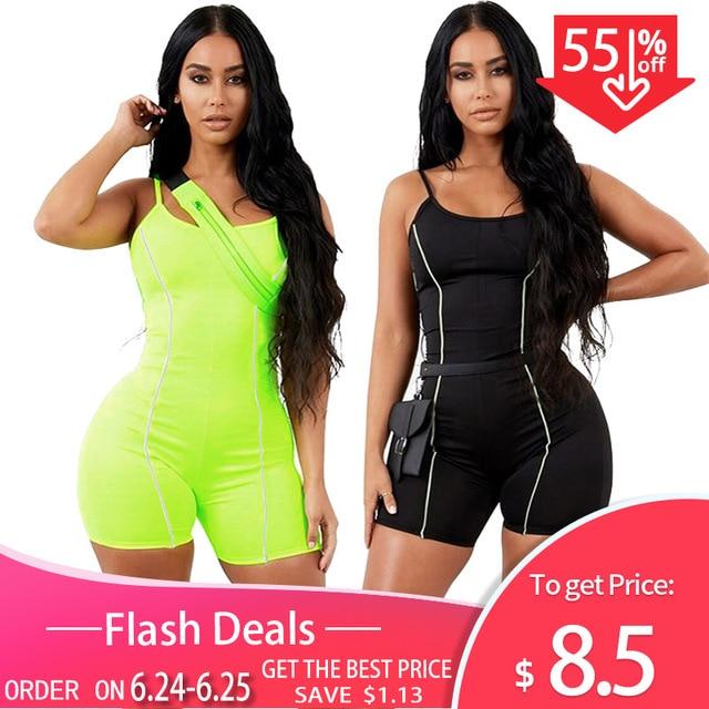 Kliou 2019 kobiety sexy bez ramiączek playsuit neon kolor skinny body odblaskowe w paski patchwork pasek backless fitness strój