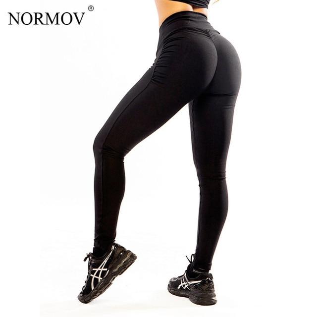 NORMOV S-XL kobiety Push Up legginsy poliester Fitness Legging duży rozmiar czarny Slim Jeggings legginsy z wysokim stanem spodnie damskie