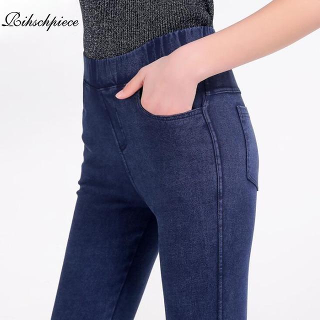 Rihschpiece 2018 Plus rozmiar M-5XL legginsy spodnie damskie czarny Punk grube Jeggings Push Up wysoka talia Legging Slim spodnie RZF1485