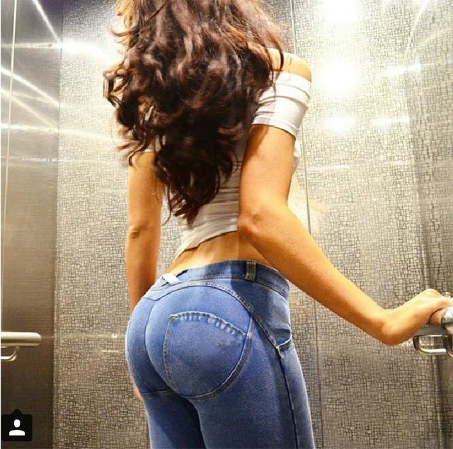 Rylanguage kobiety brzoskwinia dżinsy podnieś biodra Skinny na co dzień Denim wysokiej elastyczne spodnie Push Up Jeggings Slim spodnie damskie dżinsy ołówek