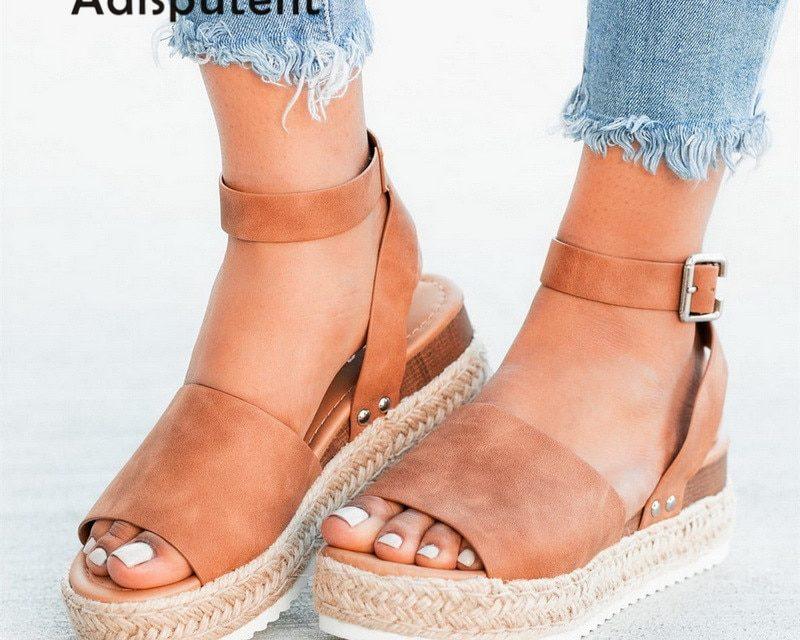 Sandały kobiet kliny buty pompy wysokie obcasy sandały lato 2019 Flip Flop Chaussures Femme sandały na platformie Sandalia Feminina mega zniżka na Aliexpress