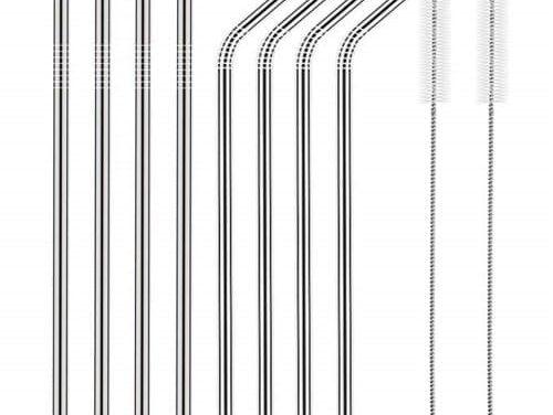 Słomki ze stali nierdzewnej AEOFUN nadają się do wielokrotnego użytku z szczotkami czyszczącymi 10 szt. / Zestaw ze zniżką w sklepie Gearbest