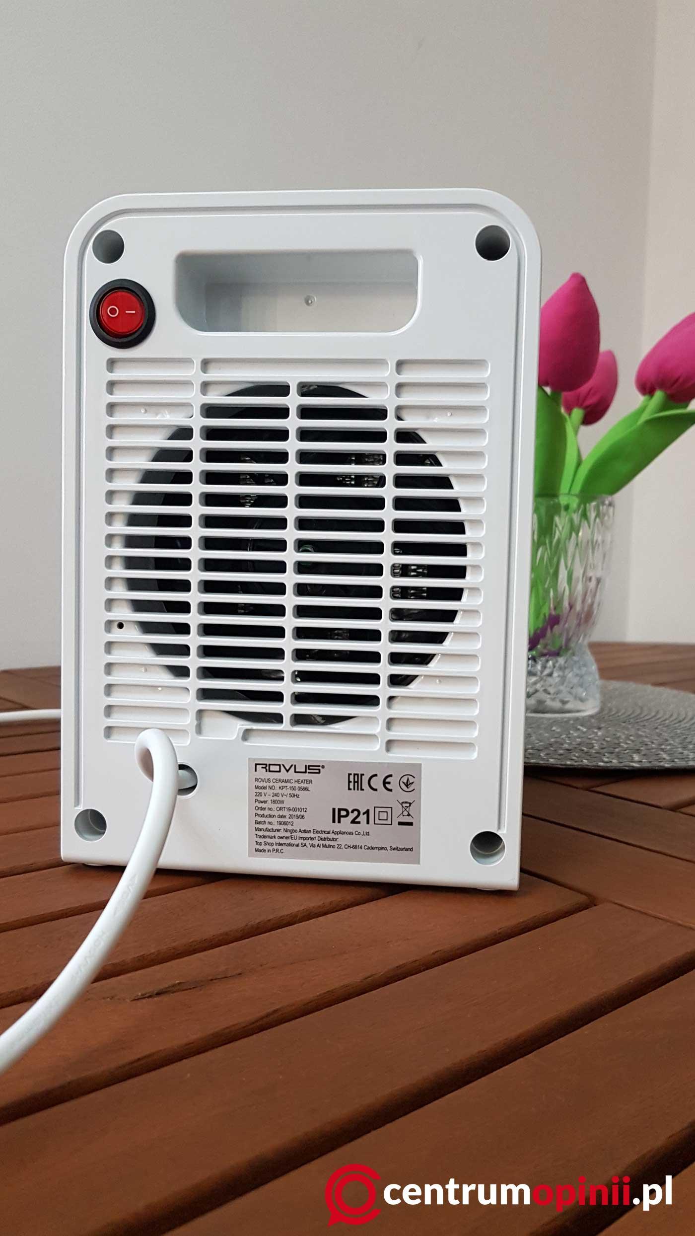 Grzejnik Rovus Ceramic Heater tył urządzenia